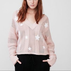 {NWT} Express Cropped Pink Star Sweater - XS